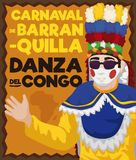 Design Promoting African Influence in Congo`s Dance in Barranquilla`s Carnival, Vector Illustration. Commemorative poster with traditional Congo dancer showing Stock Photo