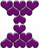 A design of purple hearts on a white background. Purple hearts made with glitter making a beautiful design on a white background Stock Images