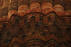 Carvings and design on Qutb Minar stock photos