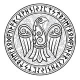 Design of Raven in Celtic, Scandinavian style and Norse runes. Isolated on white,  illustration Royalty Free Stock Images