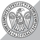 Design of Raven in Celtic, Scandinavian style and Norse runes. On white, illustration Royalty Free Illustration