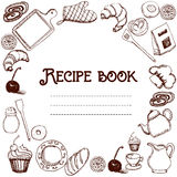 Design of recipes book. Hand drawn doodles objects food and utensils. Cookbook. Eps10 Stock Photography