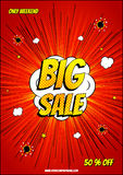Design of the red explosion flyer pop art comic sale discount promotion Royalty Free Stock Image