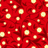 Design red floral seamless pattern with flowers Stock Image