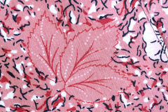 Design of Red flower pattern on fabric. Stock Image