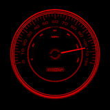 Design of red speedometer, Speedo, clock with inde. Red speedometer, Speedo, clock with red indexes and red arrows, pointer on black background Stock Photos