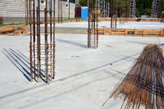 Design of reinforced concrete foundations. Constructed by workers. Metal framework. Royalty Free Stock Photo