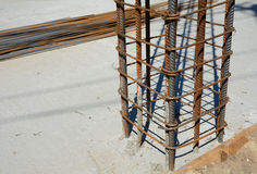Design of reinforced concrete foundations. Constructed by workers. Metal framework. Royalty Free Stock Image