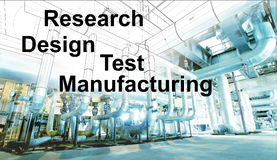Design research test manufacturing over wireframe cad desig. Design research test manufacturing test over wireframe cad design combined with photo stock images
