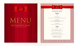 Design Restaurant Menu template with red bow ribbon and strips. Elegant luxe cover Stock Photos