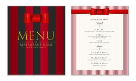 Design Restaurant Menu template with red bow ribbon and strips. Elegant luxe cover Royalty Free Stock Image
