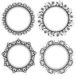 Design retro frames. Four black retro frame with a pattern Stock Image