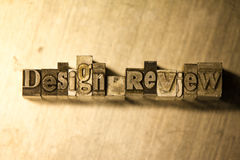Design review - letterpress text sign Stock Photography