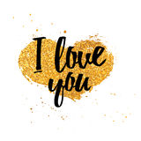 Design romantic card. Card I love you with the decor of heart with golden texture. Love recognition in a minimalist Stock Photos