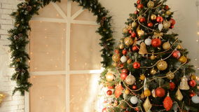 Design room with Christmas fir and the window stock video