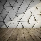 Design of room. With concrete wall of geometric shapes. 3D illustration Stock Photography