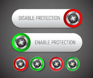 Design a round and rectangular button with rounded corners to en. Able and disable protection. Templates for the web, with a mechanical combination lock from the Royalty Free Stock Photography