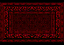 Design rug with bright border in red and burgundy shades Royalty Free Stock Photo