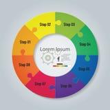 Design säubern Flussdiagramm mit 8 Schritten Vektor Lizenzfreies Stockfoto