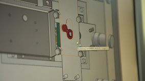 Design of the safe on the computer. Monitor close up. The employee selects a configuration and configuration of details for creation of model of the safe stock footage