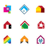 Design safe home real estate interior construction logo icon Stock Photos