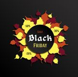 Design for a sale signboard. Black Friday. Art in the style of paper cut. Autumn leaves in a frame in a circle. Vector. Design for a sale signboard. Black stock illustration