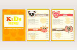 Design sample kids menu for cafes, restaurants. Bright graphic objects, animal silhouette, cartoon style. Vector illustration vector illustration