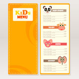 Design sample kids menu for cafes, restaurants. vector illustration