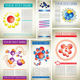 Design samples with molecules. Set of science design samples with molecules Stock Illustration