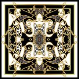 Design scarf with leopard skin and golden baroque elements. Vector. Design scarf with leopard skin and golden baroque elements vector illustration