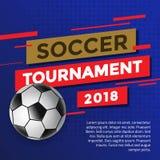 Design-Schablone des Fußball-Turnier-2018 Lizenzfreies Stockbild