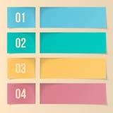 Design-Schablone für Infographics, nummeriert Fahnen, Netz-Plan. Lizenzfreies Stockfoto