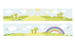 Design school, kindergarten or children`s room. Landscape with sun and rainbow to processing facilities in the school, kindergarten, nursery, children`s room vector illustration