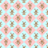 Design seamless colorful diamond children pattern. With funny cartoon rabbits. Vector art Royalty Free Stock Photos