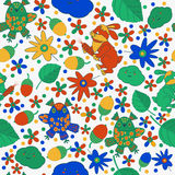 Design seamless pattern on the theme of nature. flowers, leaves, owl and rabbit vector illustration