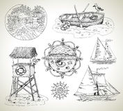 Design set with boats, light house and sea vintage elements Stock Image