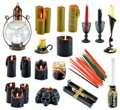 Design set with burning black red and colorful candles isolated on white. Wicca, esoteric, divination and occult concept with vintage magic objects for mystic stock photos