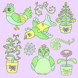 Design set with cartoon birds and flowers Stock Images