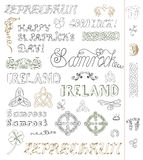 Design set with celtic patterns and St. Patrick's Day symbols Stock Photos