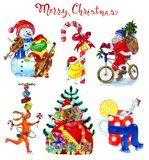 Design set with Christmas characters Stock Image