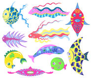 Design set with colorful exotic fish Royalty Free Stock Photo