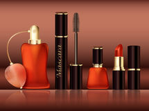 Design set of cosmetic promotional items. Women`s Accessories Lipstick, mascara, perfume bottle, nail polish on the table with ref. Lection. Illustration red Stock Images