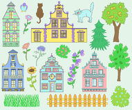 Design set with cute houses and nature details Stock Images