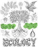 Design set with eco icons and symbols. Ecology doodle set with tree in hands, leaves, text water drops and eco symbols. Hand drawn line art illustrations, green Stock Images