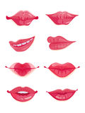 Design set of eight hot pink female lips Stock Photos