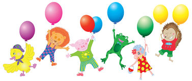 Design set with funny animals and balloons Stock Images
