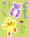 Design set with funny pets and flowers Stock Images