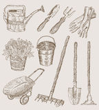 Design set with garden tools Stock Image