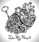 Design set with human heart with mechanical parts, key vector illustration