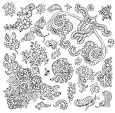 Design set with isolated black and white floral patterns Royalty Free Stock Images